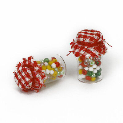 1/12 pairs of Dollhouse Miniature Glass Bottle Biscuit Pot Pastel Sweet Y3A3