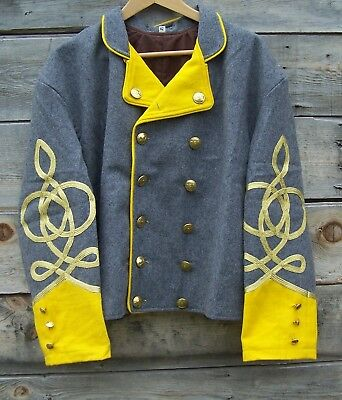 civil war confederate reenactor cavalry shell jacket with 4 braids 50