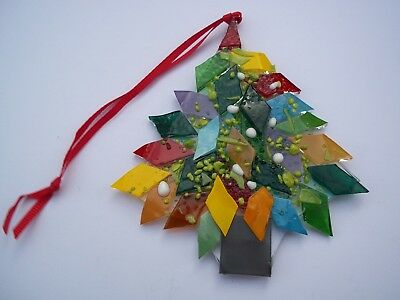 Christmas Tree sun catcher harliquin muliticoloured fused glass hand made