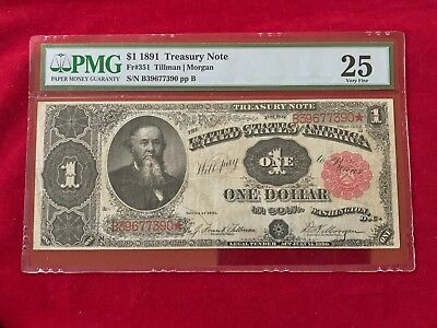 """FR-351 1891 Series $1 United States Treasury Coin Note """"Stanton"""" *PMG 25 VF*"""