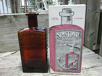Nice SIM'S TONIC ELIXIR Antwerp NY, Corked with ORIGINAL Box - WOW, What a FIND!