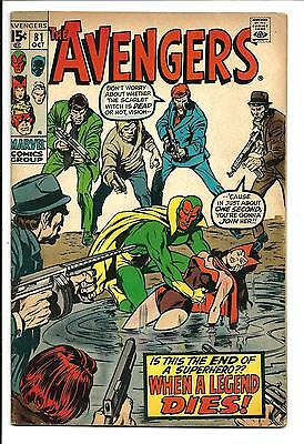 Avengers # 81 (Death Of Scarlet Witch, Oct 1970), Vg/fn