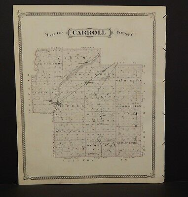 Indiana Map Carroll County Delph Township 1876 Special Purchase! Reverse K16#02