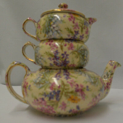 Vintage Lord Nelson Ware Chintz Heather Stacking Tea Set