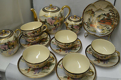 Antique Japanese Satsuma Pottery Set 14 Piece Signed