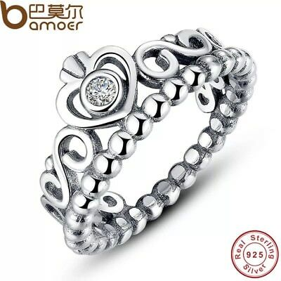 P Style Stamped 925 Sterling Silver Tiara Ring