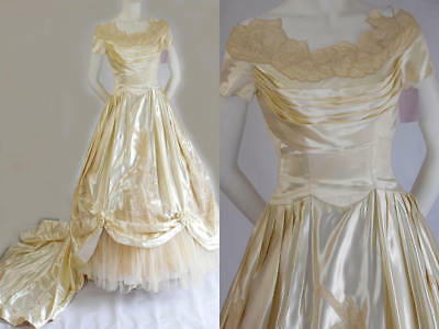 1950's Vintage William Cahill Of Beverly Hills Cream Champagne Satin Bridal Gown