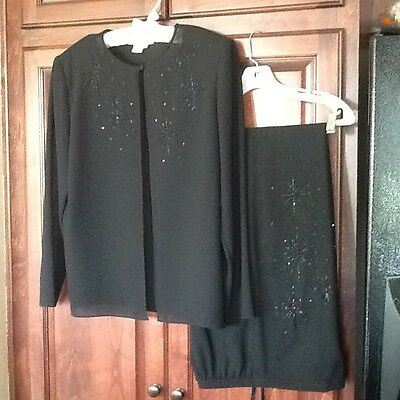 ADRIANNA PAPELL Exquisite Beaded Evening JACKET Sz L ~ Beaded Wide Leg Pants 14