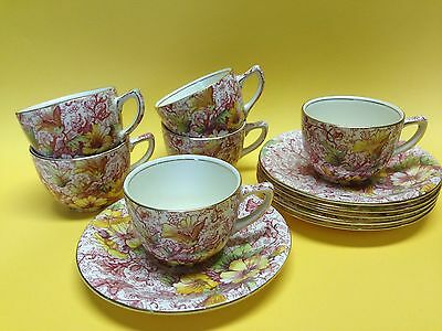 Royal Winton Grimwades Dorset 6 Demitasse Cups and Saucers Chintz China England
