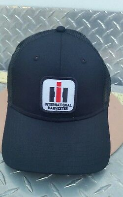 International Harvester Ih Patch All Black Twill Mesh Trucker Logo Hat Cap New