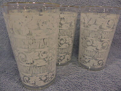 """White Pattern 4 3/4"""" Tumblers-Lot of 4-Gold Trim 10 ozs"""
