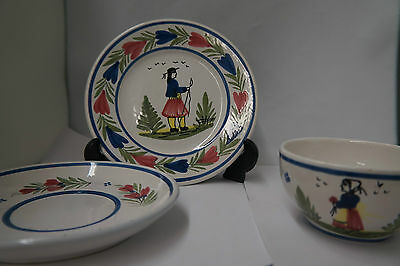 Henriot Quimper France Teacup, Saucer and Plate