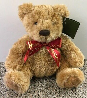 Harrods Teddy Bear Brown  Stuffed Plush Animal Tag With Red Bow Ribbon