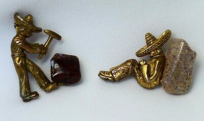 Beautiful Vintage Pair of Mexicans w/ Polished Stones Mid Century Brooches Pins