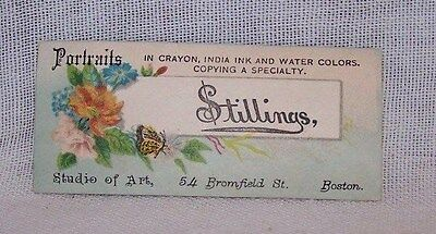 Antique Business Card-Stillings-Portraits-Studio Of Art-Boston Mass-Crayon-Ink