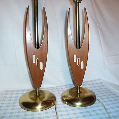 Vintage 1960s MID CENTURY Modern LAMPS Pair Brass and Wood Teak? Working