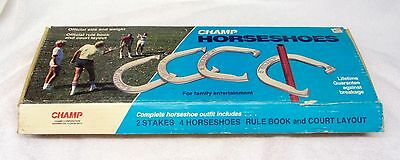Vintage CHAMPS HORSESHOES SET in Original Box COMPLETE w/ Stakes & Rule Book USA