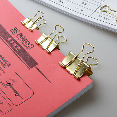 40Pcs 19MM Solid Color Gold Metal Binder Notes Letter Paper Clip Pro.