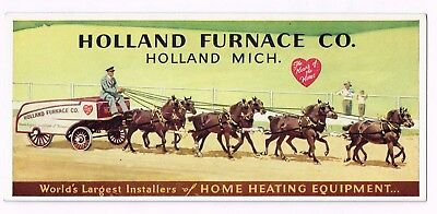 Holland Furnace Co Holland Mich. Ink Blotters  8 Horse Drawn Wagon,