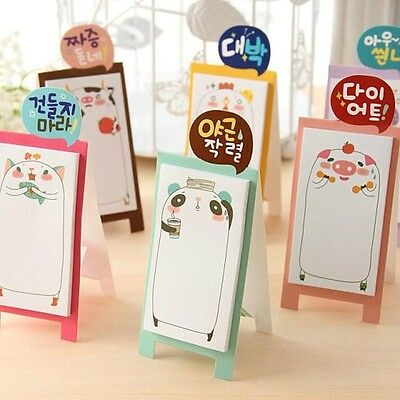 1× Stand UP Kawaii Cute animal Message Memo Pad Korean stationery Sticky Notes#