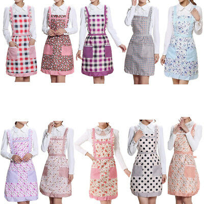 Women Floral Muti-color Anti-oil Cooking Kitchen Restaurant Apron Pocket Gifts #
