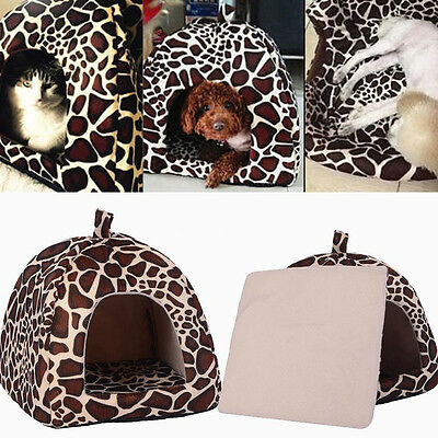Leopard Fashion Pet Bed Cushion Dog Cat Warm Mat Soft Pad Sleeping Nest House ##