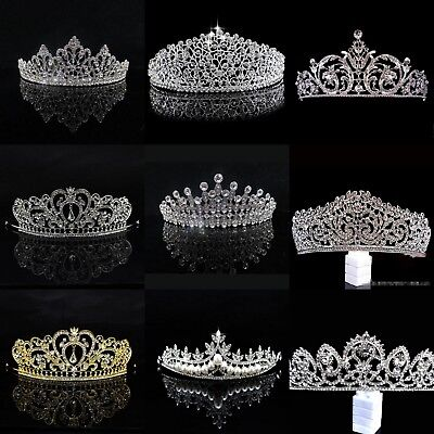 Princess Bridal Wedding Prom Headband Crystal Rhinestone Pearl Veil Tiara Crown