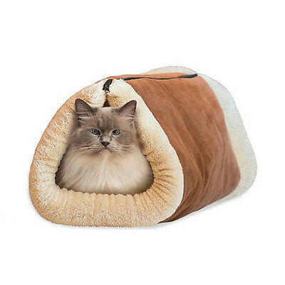 2 in1 Kitty Shack Self Heating Pet Tunnel Bed Mat Cat Dog Portable Cosy Warm-Bed