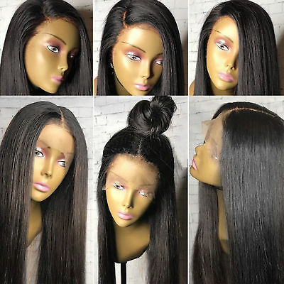 """26"""" Black Human Hair Wigs For Women Long Straight Lace Front Full Wig Baby Hair"""