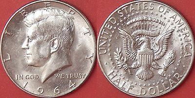 Brilliant Uncirculated 1964D US Kennedy Silver 50 Cents From Mint's Roll