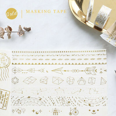 Gold Washi Masking Paper Tapes Hand Account Scrapbook Craft DIY Home Decoration