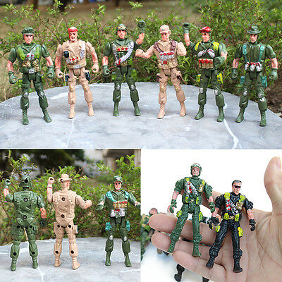 Military Playset Plastic Toy Soldiers Army Men 9cm Figures & Accessories Hot ##