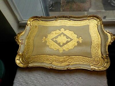 "Florentine Gold Gild Painted Italian Large Serving Tray Wood Toleware 21"" Neiman"
