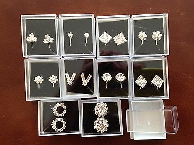 JOBLOT- 10 pairs of clip on  diamonte earrings. Gift boxed. Silver plated.