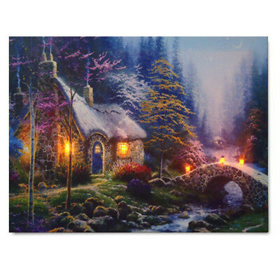 LED House Landscape Lighted Canvas Picture Print Home Wall Art Hanging Decor