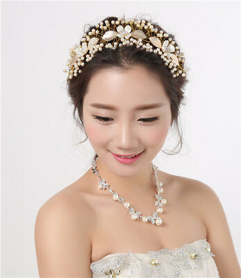 Gold Wedding Brides Headband Headpiece Tiara Rhinestone Bridal Hair Accessories