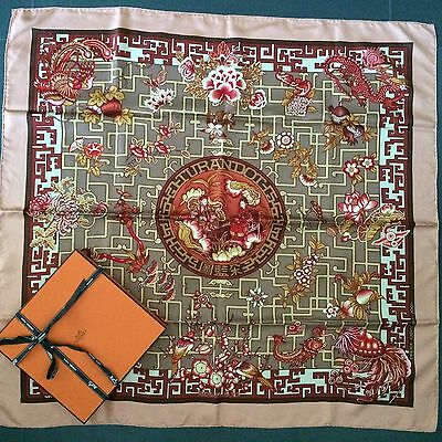 Authentic HERMES Scarf Carre TURANDOT Salmon SPECIAL EDITION VERY RARE