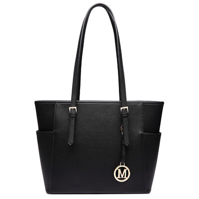 Women Reversible Contrast Shoulder Handbag  PU Leather Tote Two In One Black