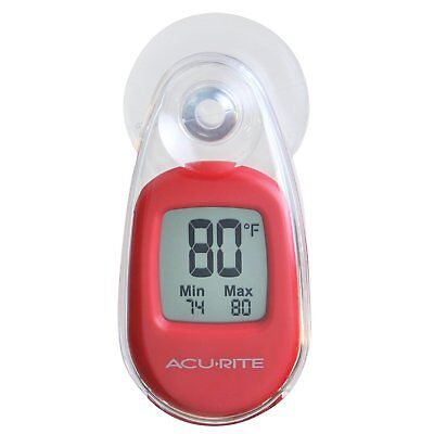 AcuRite Suction Attached Digital Window Indoor / Outdoor Thermometer Red 00316