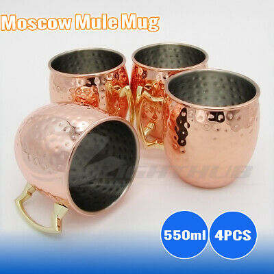 4PCS 550ml Moscow Mule Mug Hammered Copper Drink Cocktails Beer Wine Brass Cup