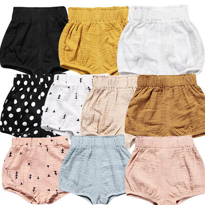 0-4Y Girls Boys Baby Summer Shorts Kids Casual Linen Toddler Cotton Shorts Pants