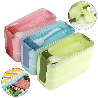 900ML Portable 3 Layer Bento Oven Lunch Fresh-keep Box Microwave Food Storage