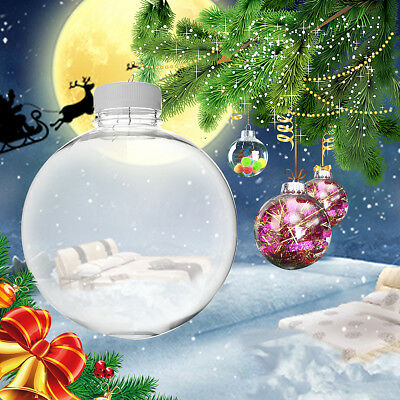 Clear DIY Baubles Shatterproof Seamless Plastic XMAS Ball Home Tree Decor Gift