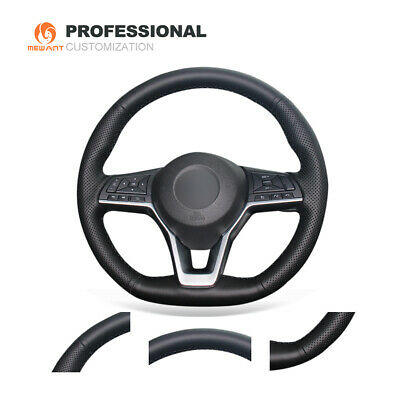 Soft Black Genuine Leather Steering Wheel Cover Wrap for Nissan X-Trail Qashqai