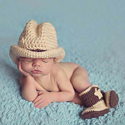 Newborn Baby Boys Crochet Knit Costume Photography Prop Cowboy Hat Boots Outfits