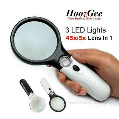Handheld 45X Magnifying Magnifier Reading Glass Jewelry Loupe With 3 LED Light
