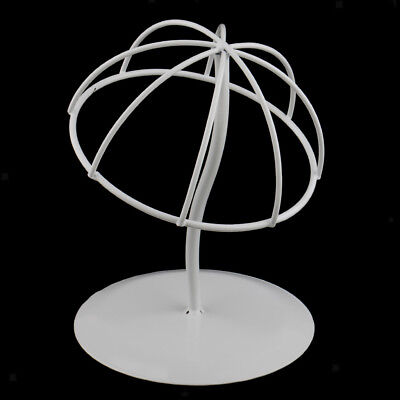 White Iron Hat Wig Display Stand Holder Rack for Home Salon Cap Wigs Storage