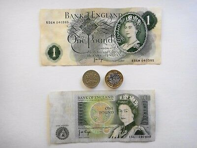 Uk - British - One Pound Notes And Coins Bank Of England Circulated Condition