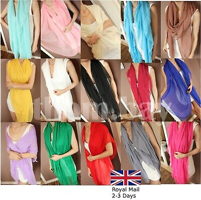 Classic Plain Chiffon Ladies Women Soft Long Large Neck Scarf Wrap Beach Sarong