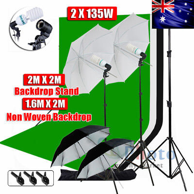1350W Photography Studio Umbrella Lighting Light Stand Backdrop Background Kit